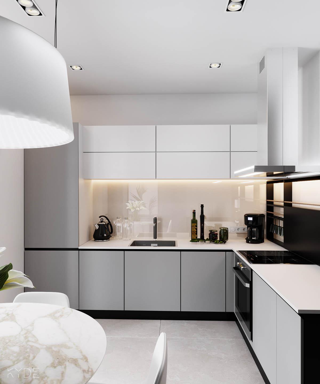 Bên trong căn hộ chung cư 70m2 theo phong cách Bắc Âu. Phòng bếp 2