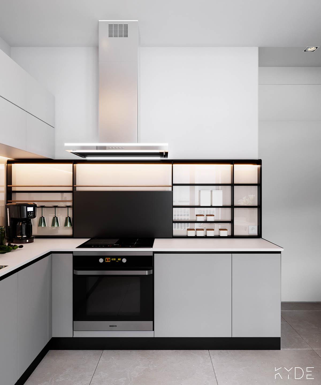 Bên trong căn hộ chung cư 70m2 theo phong cách Bắc Âu. Phòng bếp 3