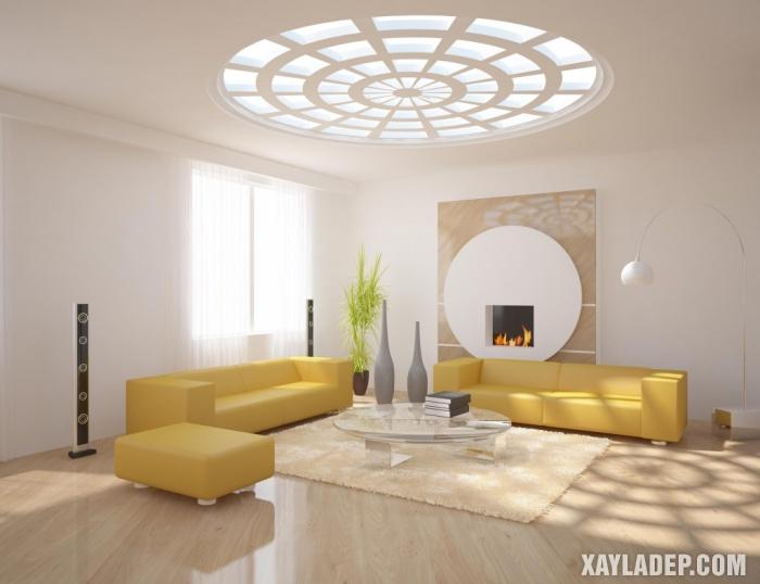 Hình 11: Nét ấn tượng trong giải pháp lấy ánh sáng tự nhiên quan trần thạch cao phòng khách