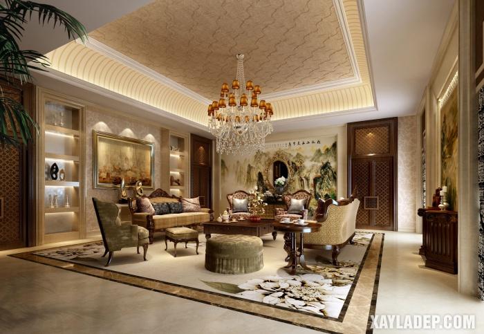 Hình 3: Mẫu trần thạch cao tân cổ điển cho phòng khách phong cách Trung Hoa