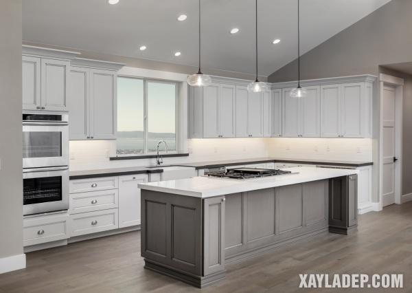 Đảo bếp mà ghi xám sẽ phù hợp với các căn bếp trên tầng thượng và diện tích lớn