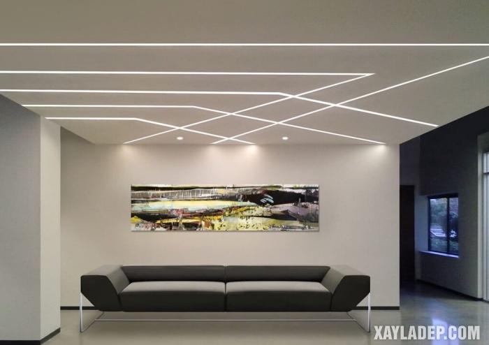Mẫu 02: Trần thạch cao phòng khách đơn giản hiện đại