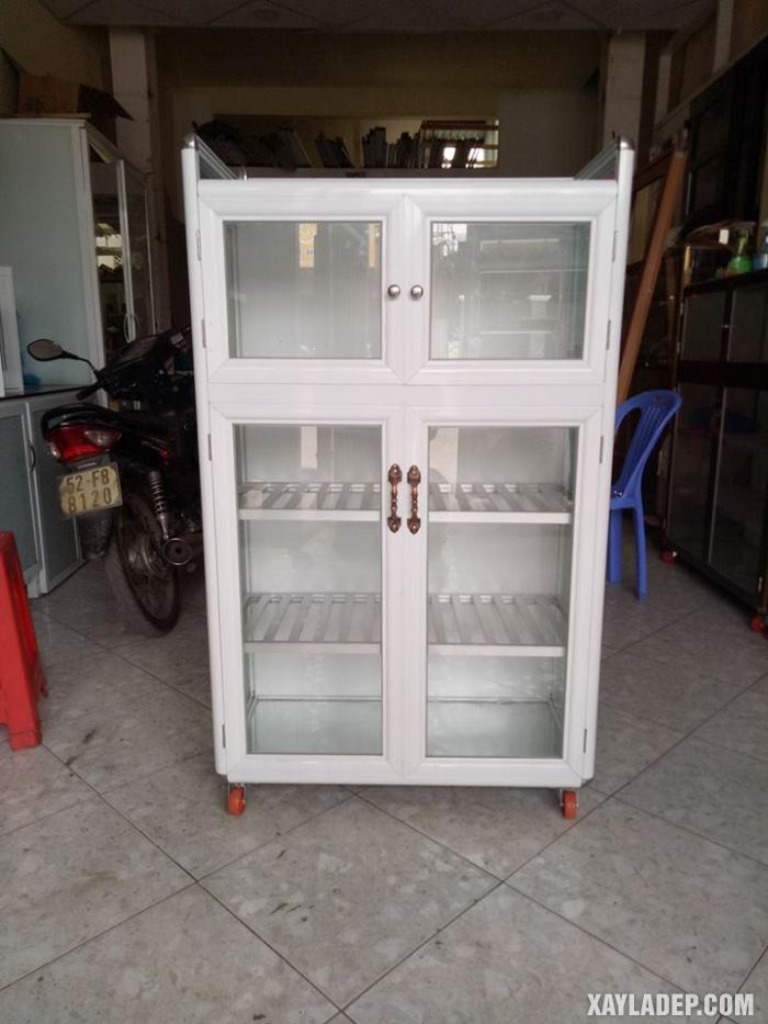 Hình 17: tủ bếp nhôm kính màu trắng sứ