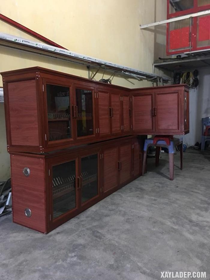 Hình 20: Mẫu tủ bếp chữ L vân gỗ