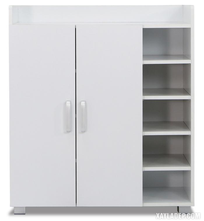 Hình 5: Mẫu tủ giầy cánh mở 5 tầng màu trắng