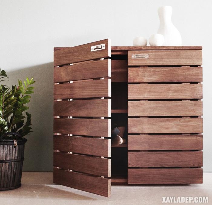 Hình 5: Tủ giày gỗ tự nhien cánh mở cao cấp