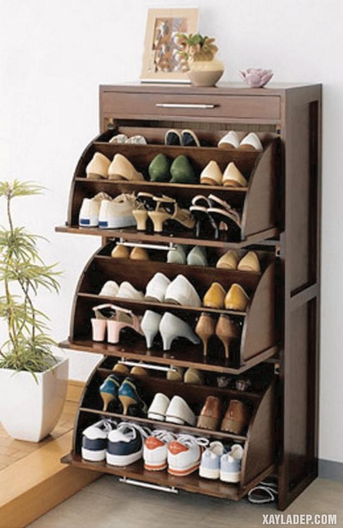 Hình 1: Một mẫu tủ giầy gỗ cánh lật chứa được rất nhiều giầy dép bên trong