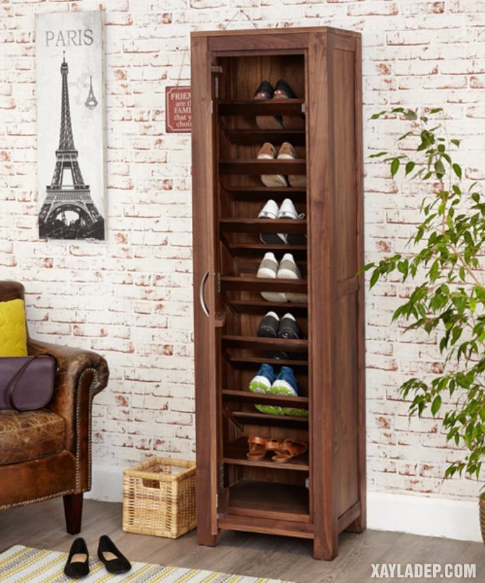 Hình 2: Mẫu tủ giầy gỗ đứng theo phong cách cổ điển