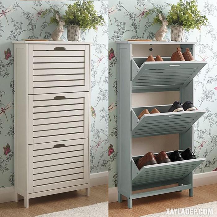 Hình 6: Mẫu tủ giầy 3 tầng cánh lật
