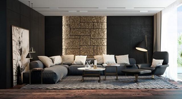 sơn phòng khách màu đen