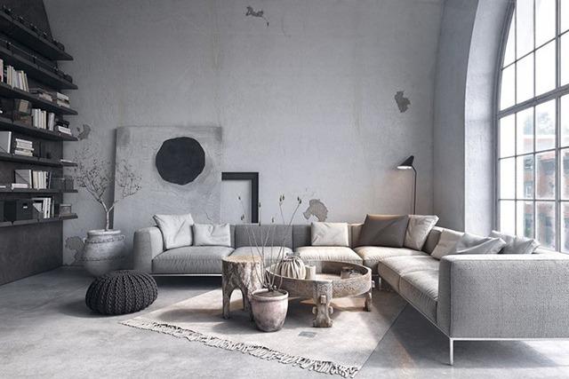 sơn phòng khách màu xám