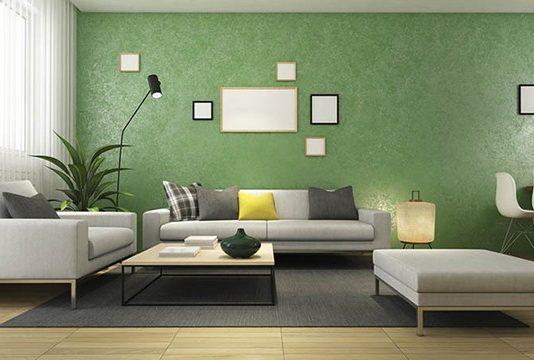 sơn phòng khách màu xanh lá