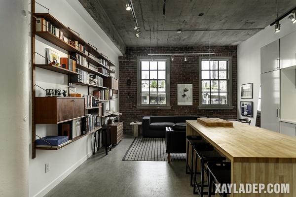 Gạch và bê tông kết hợp đẹp mắt bên trong chung cư công nghiệp hiện đại này