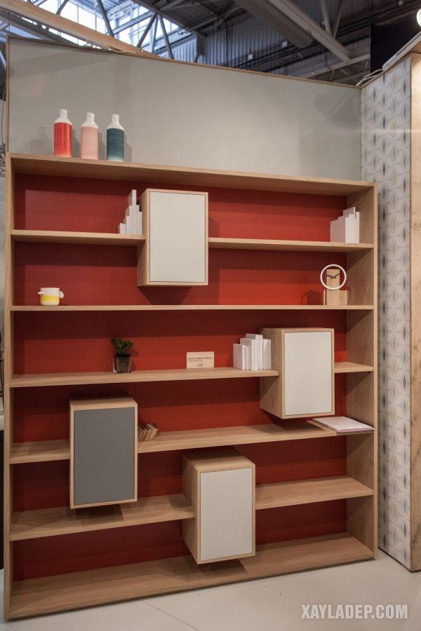 mẫu kệ sách treo tường bằng gỗ đơn giản hiện đại