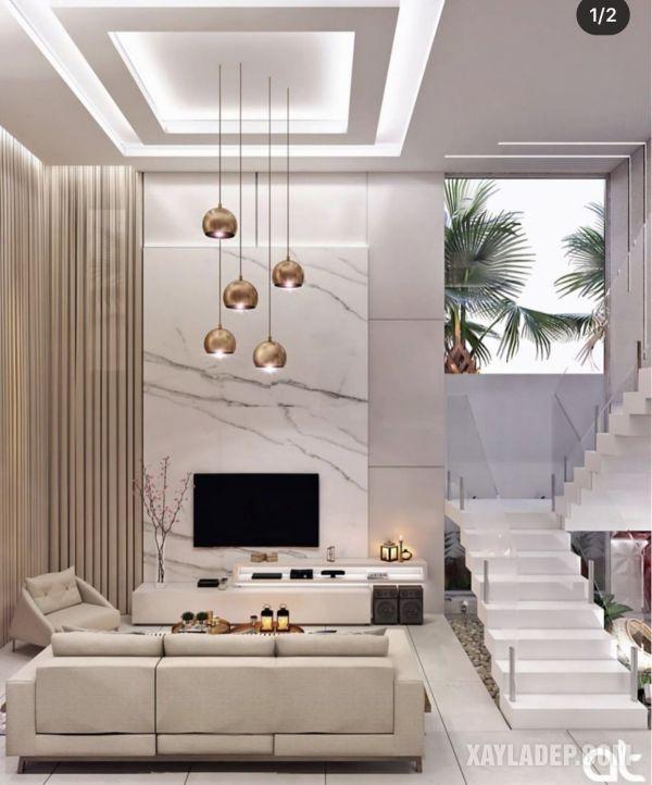 mẫu trần thạch cao phòng khách 20m2