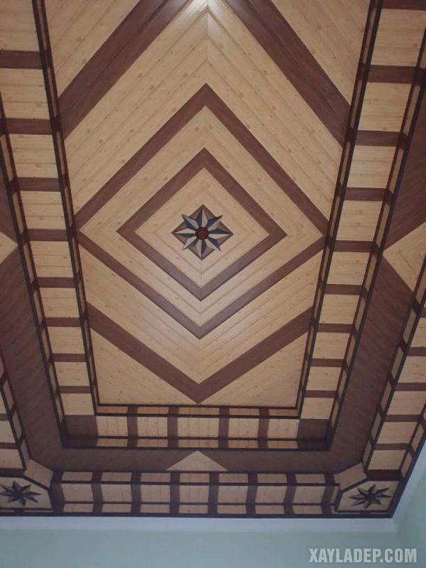 Một mẫu trần nhựa cao cấp kèm với hoa văn hiện đại theo thiết kế đối xứng