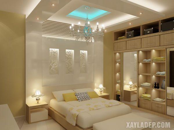 mẫu trần thạch cao phòng ngủ vợ chồng với đèn chùm và hoa văn cnc