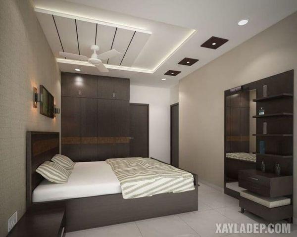 mẫu trần thạch cao phòng ngủ vợ chồng trung niên