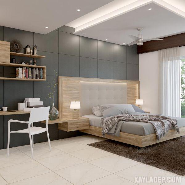 mẫu trần thạch cao phòng ngủ 12m2 với quạt trần và giật cấp trung tâm
