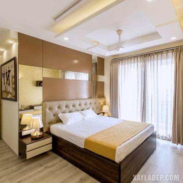 mẫu trần thạch cao phòng ngủ 10m2 với quạt trần hiện đại
