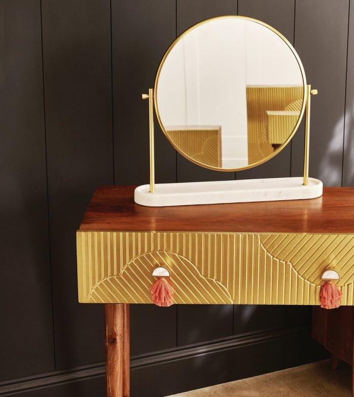 Bàn trang điểm Fiore Gold Brass & Mango Wood