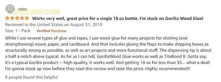 Đánh giá của khách hàng về keo dán gỗ Gorilla Wood Glue