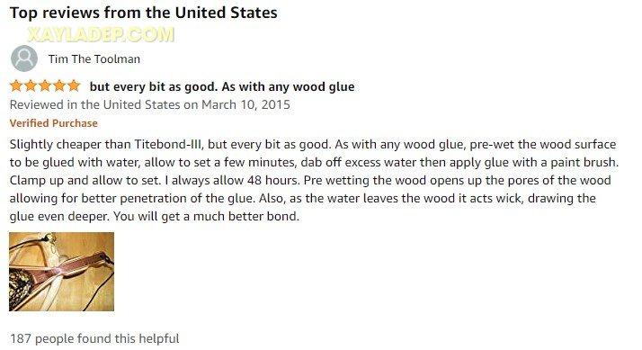 Đánh giá keo dán gỗ Elmer's từ khách mua hàng trên amazon