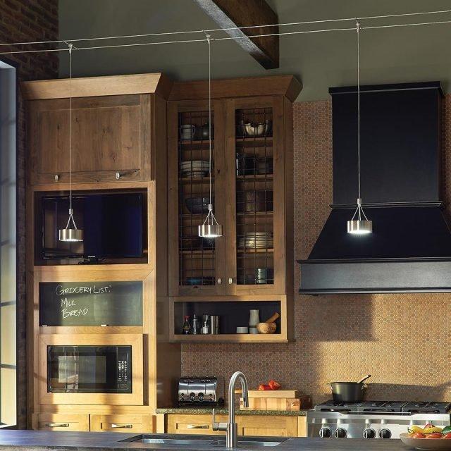 20 Ý tưởng trang trí đèn rọi ray (track light) cho phòng bếp hiện đại den roi ray phong bep 12