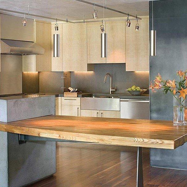 20 Ý tưởng trang trí đèn rọi ray (track light) cho phòng bếp hiện đại den roi ray phong bep 13