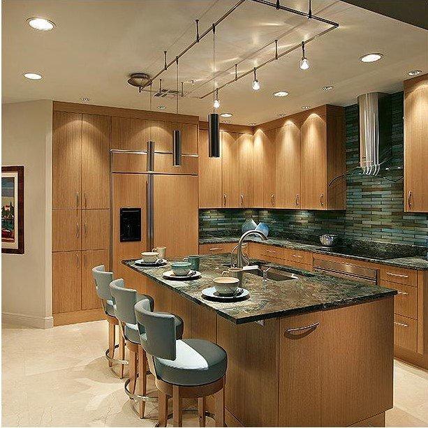 20 Ý tưởng trang trí đèn rọi ray (track light) cho phòng bếp hiện đại den roi ray phong bep 6