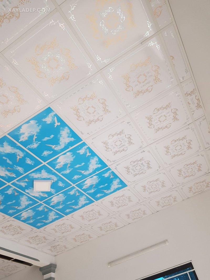 Mẫu trần nhựa thả đẹp cho phòng khách với tấm thả màu xanh da trời