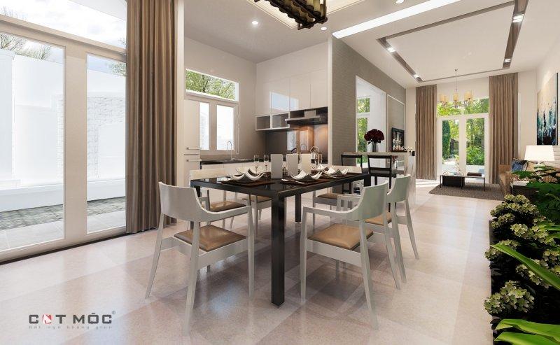 10   mẫu trần thạch cao phòng khách liền bếp