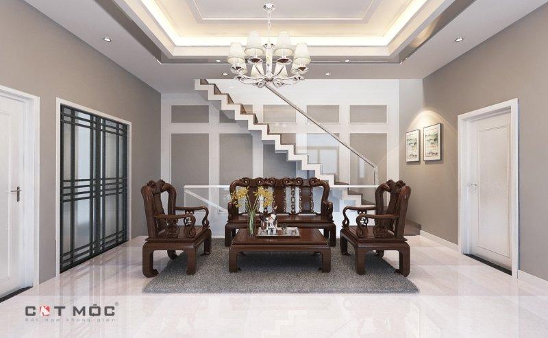 12   mẫu trần thạch cao phòng khách 30m2 với đèn chùm