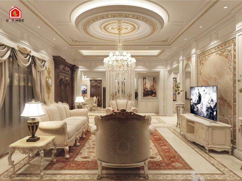 01   mẫu trần thạch cao phòng khách hình tròn