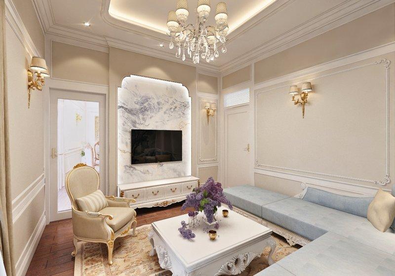 03   mẫu trần thạch cao phòng khách tân cổ điển