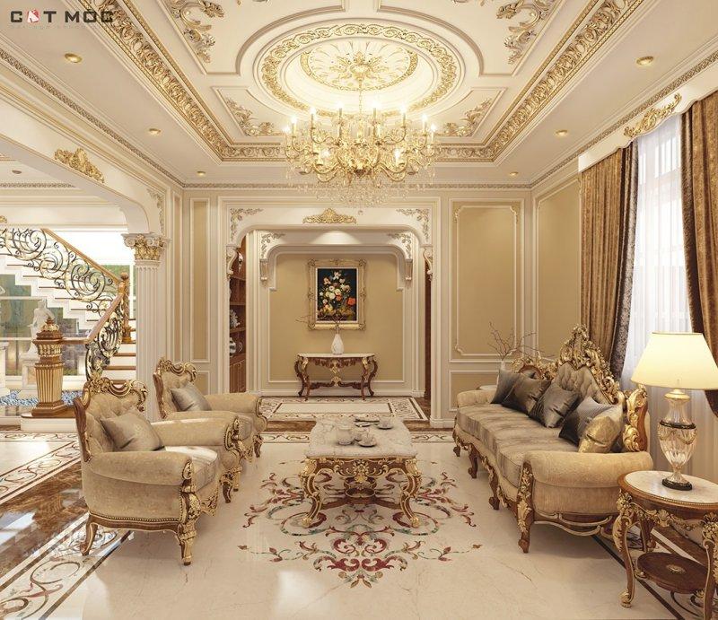 06   mẫu trần thạch cao phòng khách hình tròn