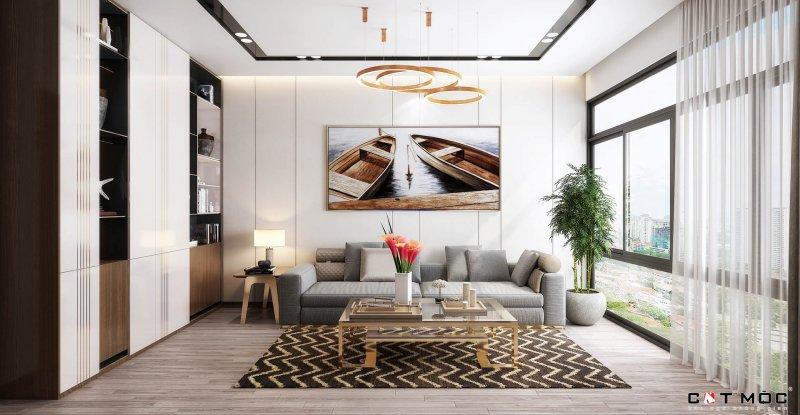 09   trần thạch cao phòng khách hiện đại cho các căn hộ chung cư