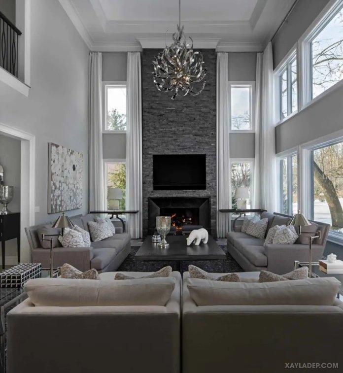 40 Ý tưởng trang trí phòng khách nhà tông màu trắng xám, xám tro phong khach nha tong mau trang xam 1