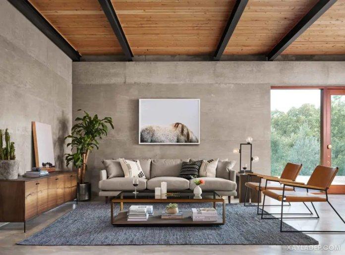 40 Ý tưởng trang trí phòng khách nhà tông màu trắng xám, xám tro phong khach nha tong mau trang xam 10