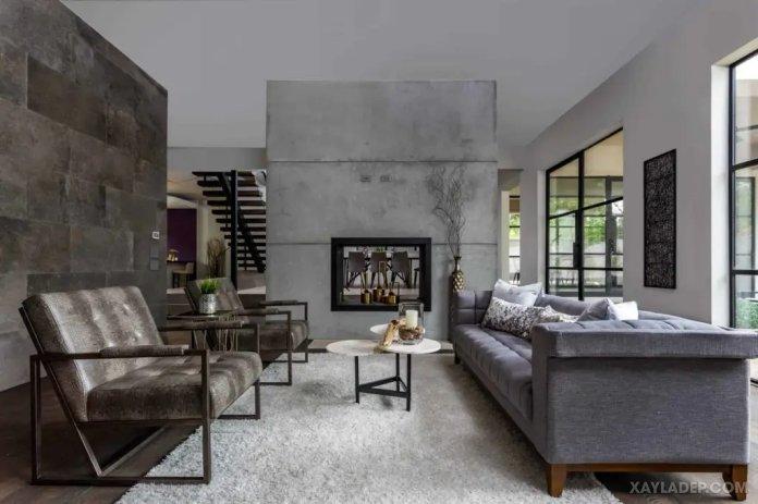 40 Ý tưởng trang trí phòng khách nhà tông màu trắng xám, xám tro phong khach nha tong mau trang xam 11