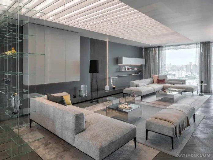 40 Ý tưởng trang trí phòng khách nhà tông màu trắng xám, xám tro phong khach nha tong mau trang xam 15