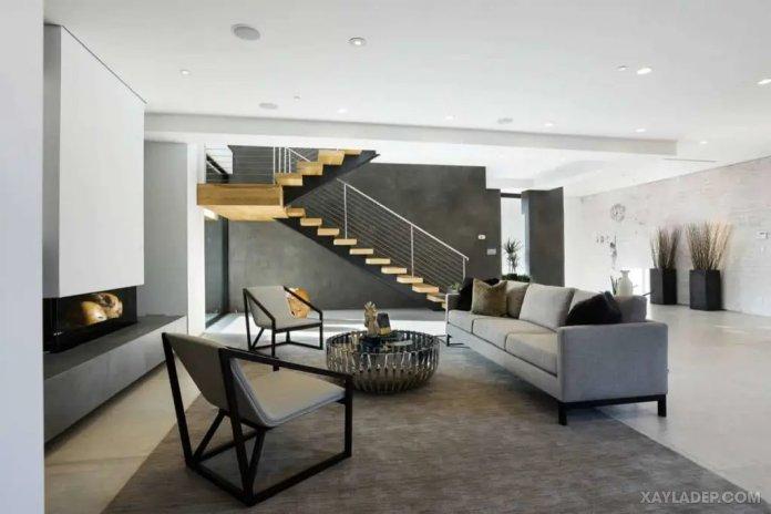 40 Ý tưởng trang trí phòng khách nhà tông màu trắng xám, xám tro phong khach nha tong mau trang xam 16