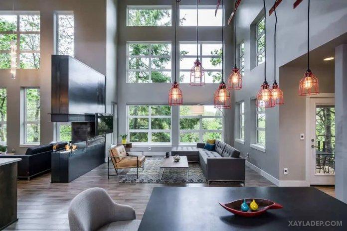 40 Ý tưởng trang trí phòng khách nhà tông màu trắng xám, xám tro phong khach nha tong mau trang xam 17