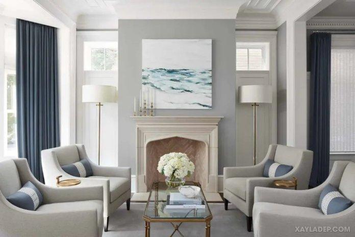 40 Ý tưởng trang trí phòng khách nhà tông màu trắng xám, xám tro phong khach nha tong mau trang xam 18
