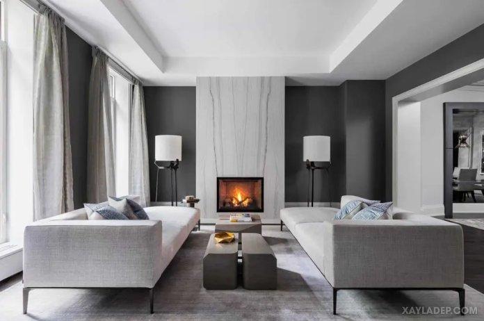 40 Ý tưởng trang trí phòng khách nhà tông màu trắng xám, xám tro phong khach nha tong mau trang xam 2
