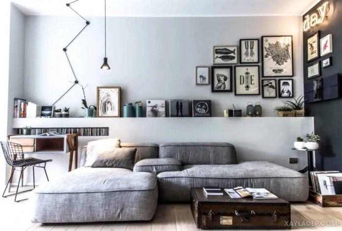 40 Ý tưởng trang trí phòng khách nhà tông màu trắng xám, xám tro phong khach nha tong mau trang xam 21