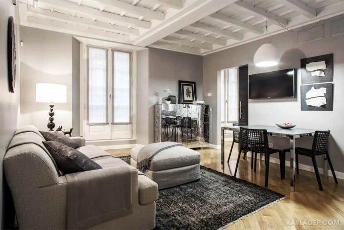 40 Ý tưởng trang trí phòng khách nhà tông màu trắng xám, xám tro phong khach nha tong mau trang xam 24
