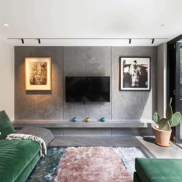 40 Ý tưởng trang trí phòng khách nhà tông màu trắng xám, xám tro phong khach nha tong mau trang xam 25