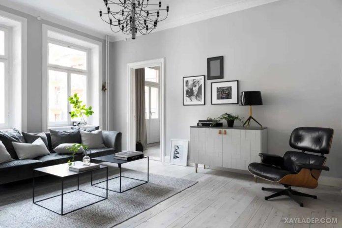 40 Ý tưởng trang trí phòng khách nhà tông màu trắng xám, xám tro phong khach nha tong mau trang xam 30