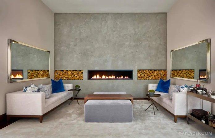 40 Ý tưởng trang trí phòng khách nhà tông màu trắng xám, xám tro phong khach nha tong mau trang xam 32